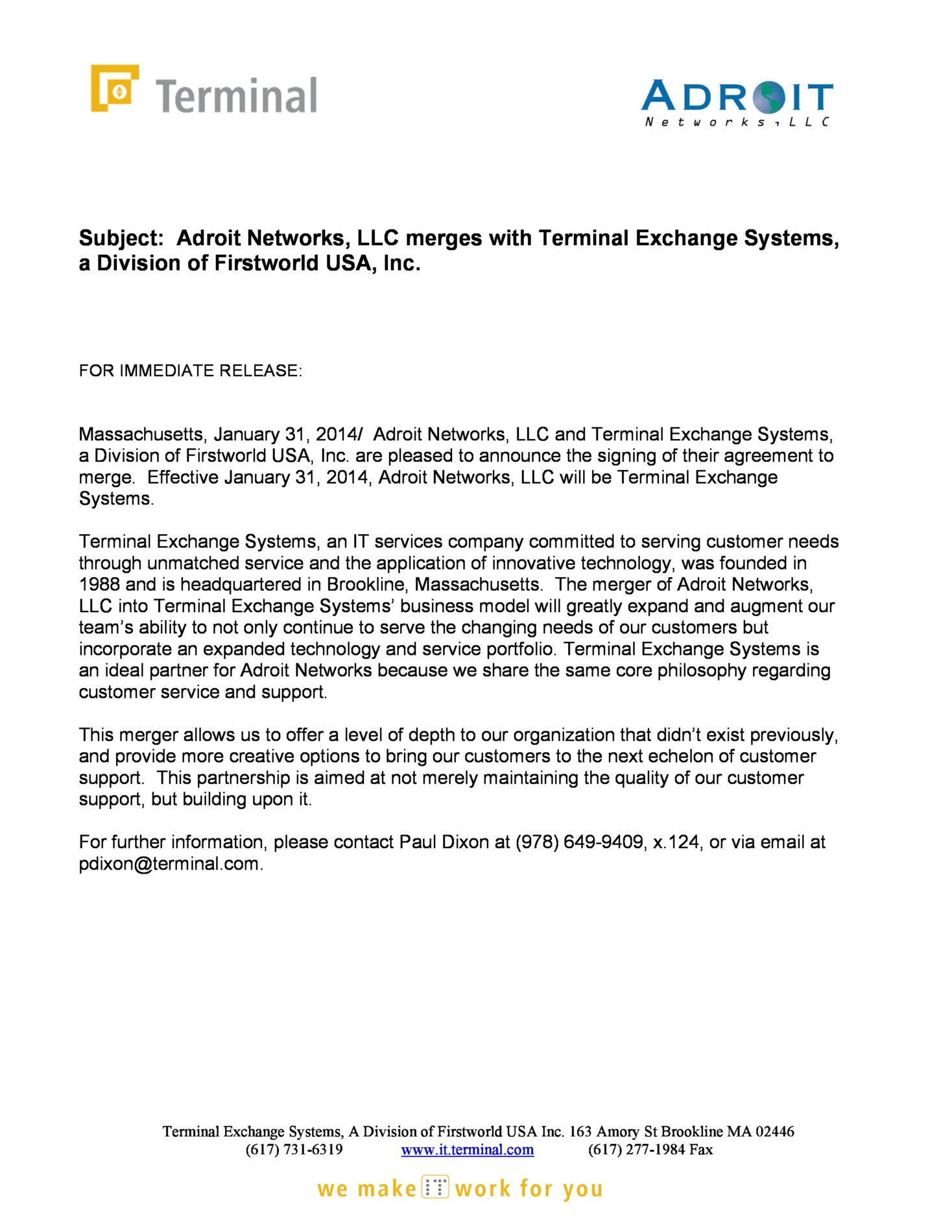 Androit Networks LLC Merges With Terminal Exchange