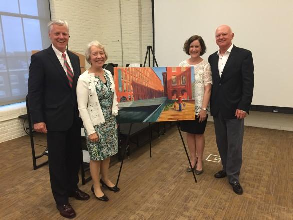 Michael Gallagher, Dorcas Grigg-Saito (Lowell CHC CEO), Maura Smith (ArtUp Donor), Dave Drinon (artist)