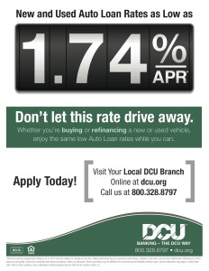 Dcu Car Loan >> New And Used Auto Loan Rates As Low As 1 74 Apr With Dcu